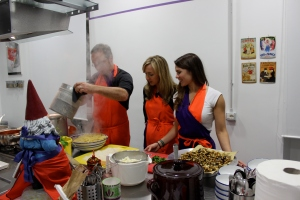Cooking our incredible meal at cooking school...