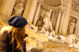 Making a wish at Trevi fountain