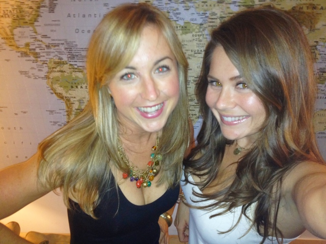 Jeanne and me in front of the wall-sized world map that hangs in my apartment