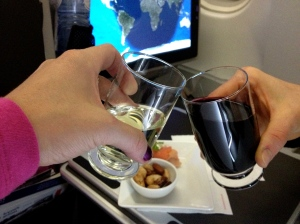 Our  first toast on the flight from NYC to Rome