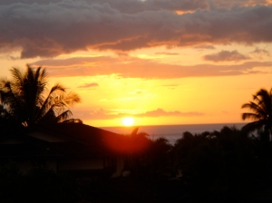 The view from one of my favorite homes over the past 9 years: sunset from my lanai while living in Maui, Hawaii