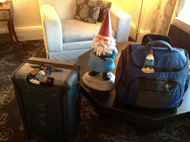 My two bags and the Roaming Gnome that accompanied me around the world