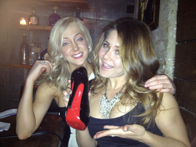 Stacy and I celebrating her birthday and her new Christian Louboutins-- women love their shoes!