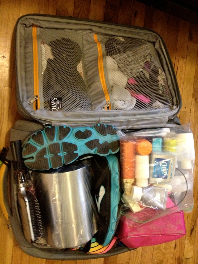 What's in my suitcase, RIO edition.  Yes, this is a Breville electric kettle- I even fit a rather large gift for a friend!