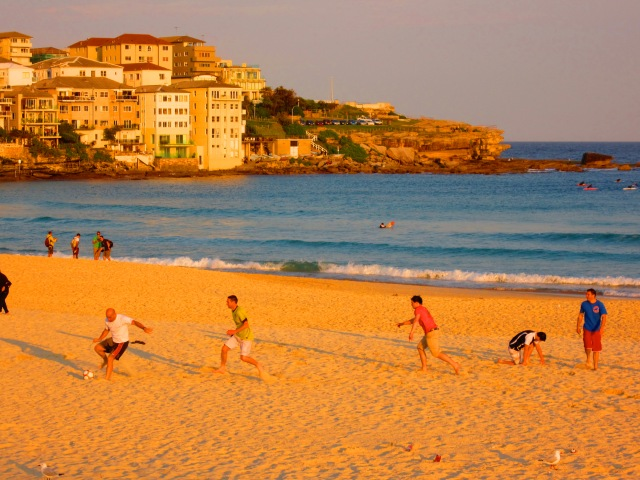 Sun lowering and making everything golden on Bondi Beach